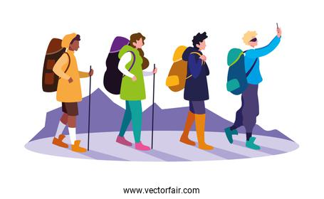 young group people with backpack hiking
