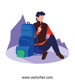 traveler man with backpack vacations