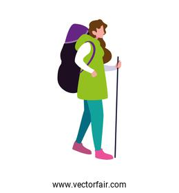 man with backpack and stick hiking traveler