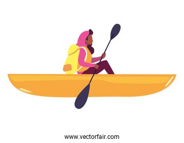 woman with boat and adventure rowing