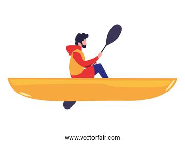 man with boat and adventure rowing