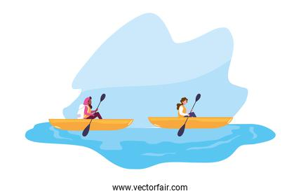 two women in the boat rowing travel