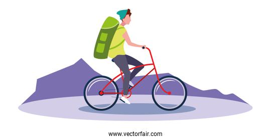 traveler man with bag riding bicycle