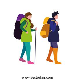 man and woman with backpack and stick hiking traveler
