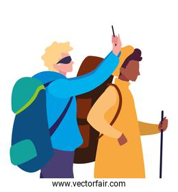 men with backpack and stick hiking traveler