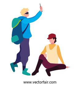 travelers men with backpack and smartphone