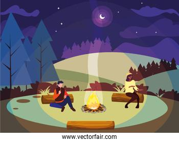 couple in the camping park bonfire land