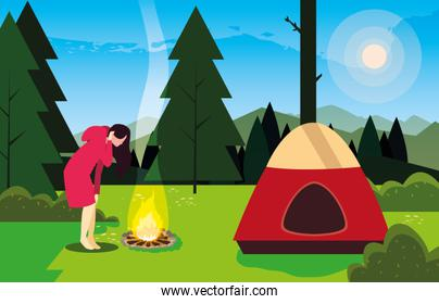 hiking woman camp tent