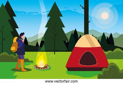hiking man camp tent bonfire forest filed