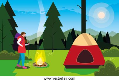 hiking woman camp tent bonfire forest filed