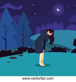 woman field hiking forest vector ilustration