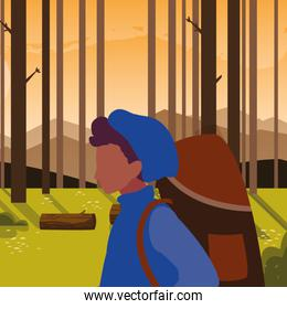 traveler man character in the outdoors