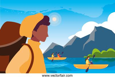 traveler man and people rowboat landscape