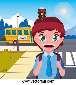 school boy with bag in the street bus
