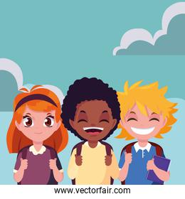 three school boys and girl with bags