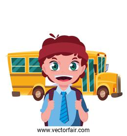 student boy and bus transport back to school
