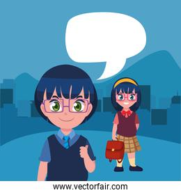 student boy and girl talking back to school