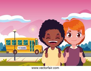 student boys and bus transport back to school