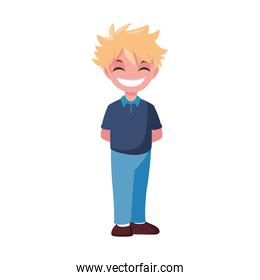 young boy happy character standing