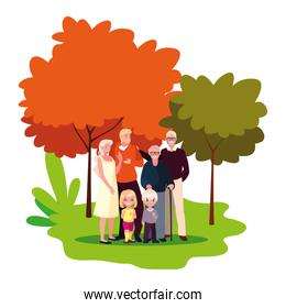 family together members in the outdoors