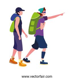 men with backpack hiking wanderlust