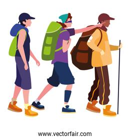 young group people hiking wanderlust