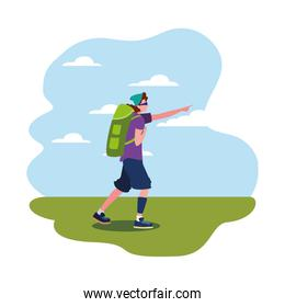 man with backpack walking wanderlust
