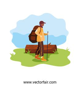 man with backpack trunk wanderlust