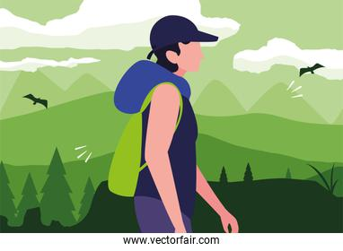 man with backpack hiking wanderlust