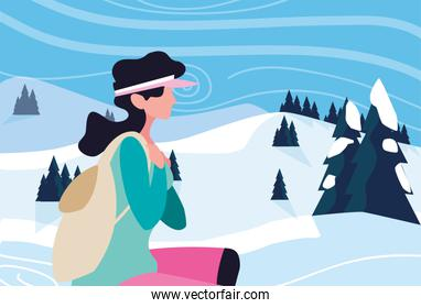 woman with backpack hiking wanderlust