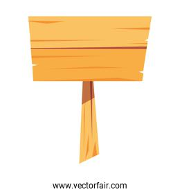 wooden signal empty on white background