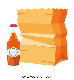 grocery paper bag and bottle juice