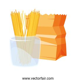 grocery paper bag and spaghetti