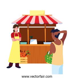 seller woman and customer with basket farm products stand