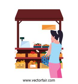 customer woman farm products stand