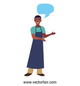 young seller man character with apron
