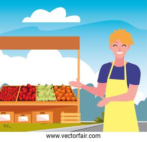 seller woman farm products stand