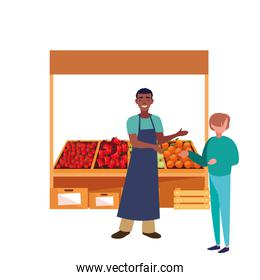seller afro man and customer farm products stand