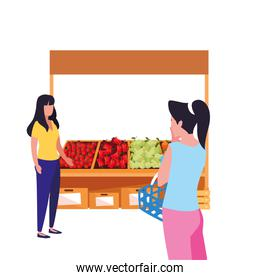 people customer farm stand vegetable and fruits