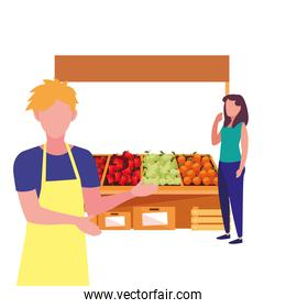 seller man and customer farm products stand