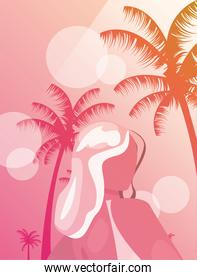 woman summer time vacations design