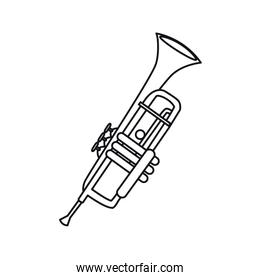 trumpet musical on white background