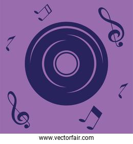 vinyl disc musical note background