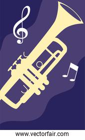 trumpet musical on note background