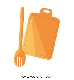 cutting board wooden fork preparation cooking