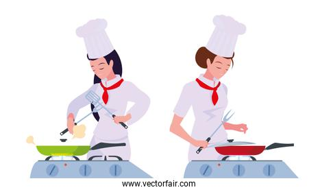 women characters chef cooking vector ilustration