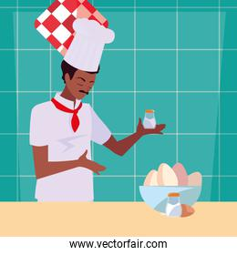 man chef preparation cooking vector ilustration