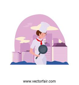 woman chef with frying pan