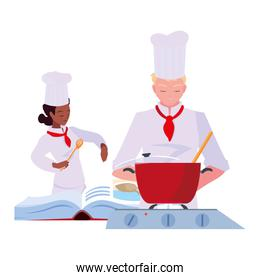 woman and man chef cooking