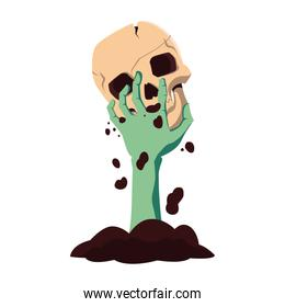 zombie hand with skull happy halloween celebration design